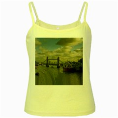 Thames Waterfall Color Yellow Spaghetti Top