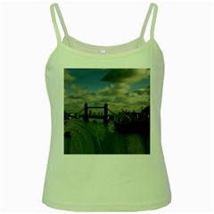 Thames Waterfall Color Green Spaghetti Top