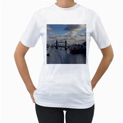 Thames Waterfall Color White Womens  T-shirt