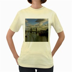 Thames Waterfall Color Yellow Womens  T Shirt