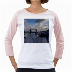 Thames Waterfall Color White Long Sleeve Raglan Womens  T Shirt