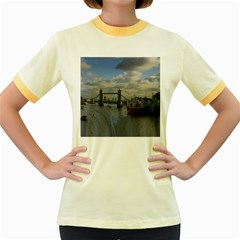 Thames Waterfall Color Colored Ringer Womens  T-shirt