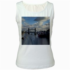 Thames Waterfall Color White Womens  Tank Top