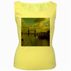 Thames Waterfall Color Yellow Womens  Tank Top