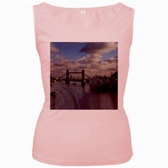 Thames Waterfall Color Pink Womens  Tank Top