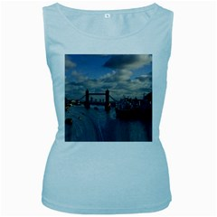 Thames Waterfall Color Baby Blue Womens  Tank Top