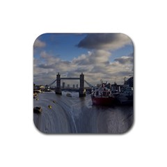 Thames Waterfall Color 4 Pack Rubber Drinks Coaster (square)