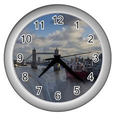 Thames Waterfall Color Silver Wall Clock