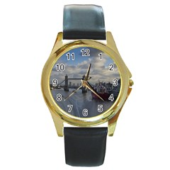 Thames Waterfall Color Black Leather Gold Rim Watch (Round)