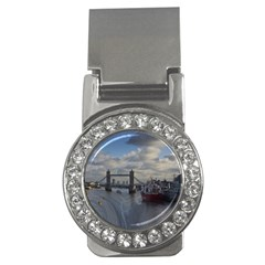 Thames Waterfall Color Money Clip with Gemstones (Round)