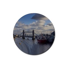 Thames Waterfall Color Rubber Drinks Coaster (Round)