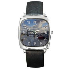 Thames Waterfall Color Black Leather Watch (square)