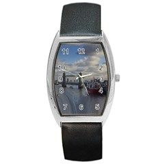Thames Waterfall Color Black Leather Watch (Tonneau)