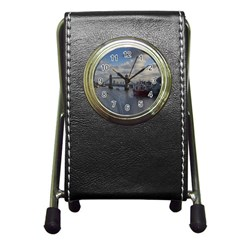 Thames Waterfall Color Stationery Holder Clock
