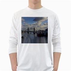 Thames Waterfall Color White Long Sleeve Man''s T-shirt
