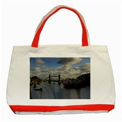Thames Waterfall Color Red Tote Bag