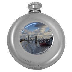 Thames Waterfall Color Hip Flask (Round)