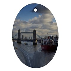 Thames Waterfall Color Oval Ornament (Two Sides)