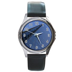 The Shard London Black Leather Watch (Round)