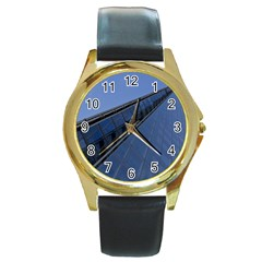 The Shard London Black Leather Gold Rim Watch (round)
