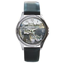 River Thames Art Black Leather Watch (Round)