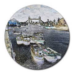 River Thames Art 8  Mouse Pad (Round)