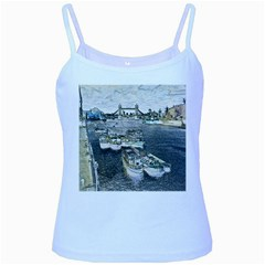 River Thames Art Baby Blue Spaghetti Top