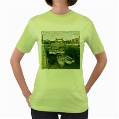 River Thames Art Green Womens  T Shirt