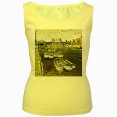 River Thames Art Yellow Womens  Tank Top