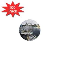 River Thames Art 100 Pack Mini Magnet (round)
