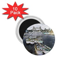 River Thames Art 10 Pack Small Magnet (Round)
