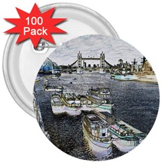 River Thames Art 100 Pack Large Button (Round)