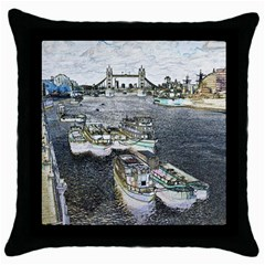 River Thames Art Black Throw Pillow Case
