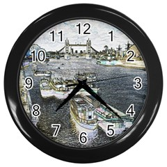 River Thames Art Black Wall Clock