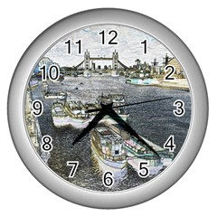 River Thames Art Silver Wall Clock