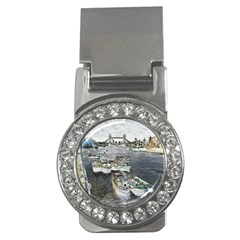 River Thames Art Money Clip with Gemstones (Round)