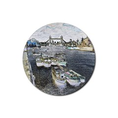 River Thames Art 4 Pack Rubber Drinks Coaster (round)