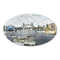 River Thames Art Large Sticker Magnet (Oval)
