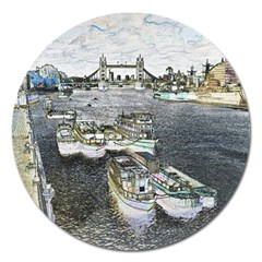 River Thames Art Extra Large Sticker Magnet (Round)