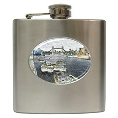 River Thames Art Hip Flask