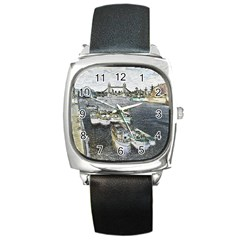 River Thames Art Black Leather Watch (Square)