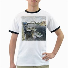 River Thames Art White Ringer Mens'' T-shirt