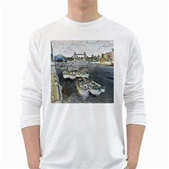 River Thames Art White Long Sleeve Man''s T Shirt