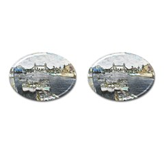 River Thames Art Oval Cuff Links