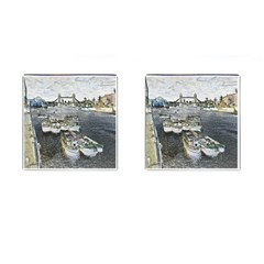 River Thames Art Square Cuff Links