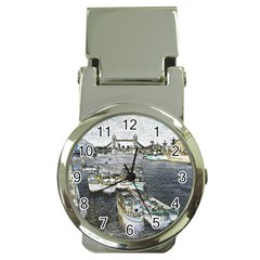 River Thames Art Chrome Money Clip With Watch
