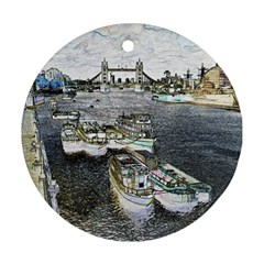 River Thames Art Twin-sided Ceramic Ornament (Round)