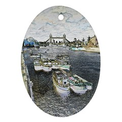 River Thames Art Oval Ornament (two Sides)