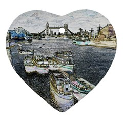 River Thames Art Heart Ornament (Two Sides)