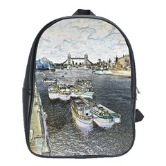River Thames Art Large School Backpack